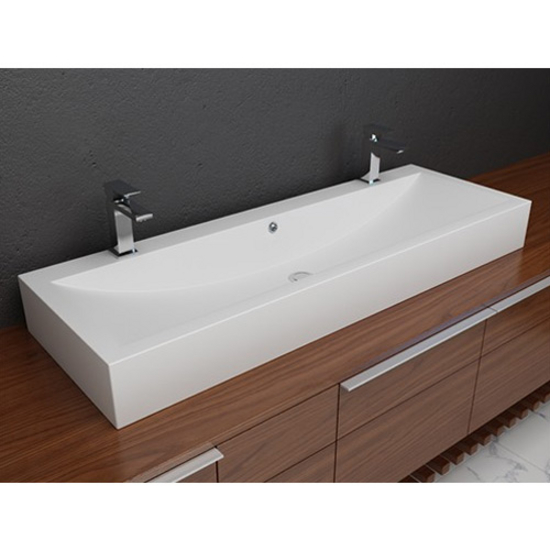 Cantrio Koncepts Cast Polymer Vessel Double Countertop Bathroom Sink