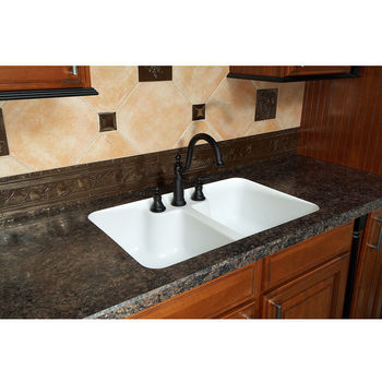 Karran Hampton Double Equal Bowl Under Mount Sink w/ Integrated / Recessed Faucet Deck
