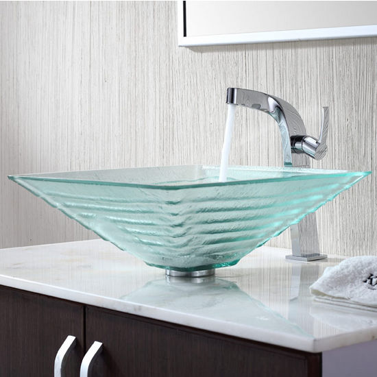 Kraus Clear Alexandrite Glass Vessel Sink and Typhon Chrome Faucet