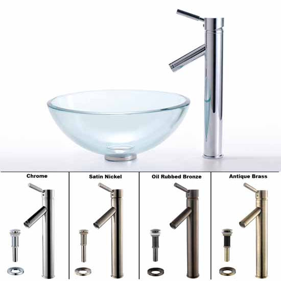 Kraus Clear 14 inch Glass Vessel Sink and Sheven Faucet Set