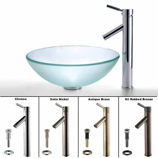 Kraus Frosted Glass Vessel Sink and Sheven Faucet Set