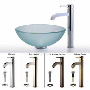 Kraus Frosted Glass Vessel Sink and Ramus Faucet Set