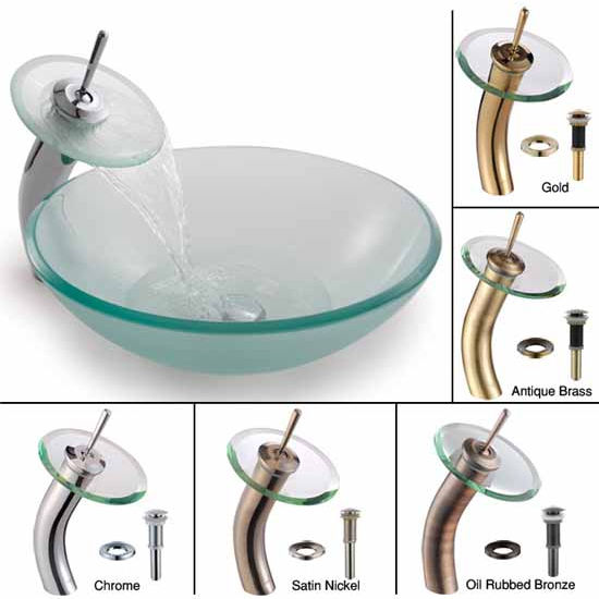Kraus Frosted Glass Vessel Sink and Waterfall Faucet Set, Satin Nickel at Sears.com