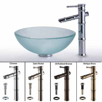 Kraus Frosted Glass Vessel Sink and Bamboo Faucet Set