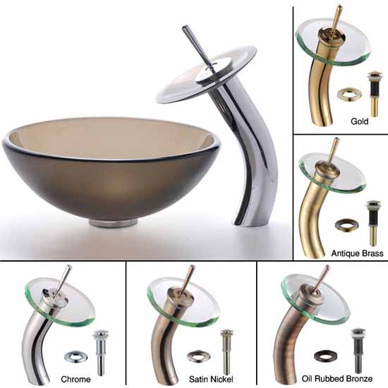 Kraus Frosted Brown 14 inch Glass Vessel Sink and Waterfall Faucet Set, Satin Nickel at Sears.com