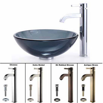 Kraus Clear Black Glass Vessel Sink and Ramus Faucet Set