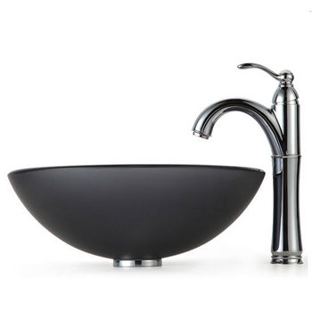 Kraus Frosted Black Glass Vessel Sink and Rivera Faucet, Chrome