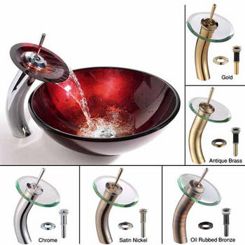 Kraus Irruption Red Glass Vessel Sink and Waterfall Faucet Set