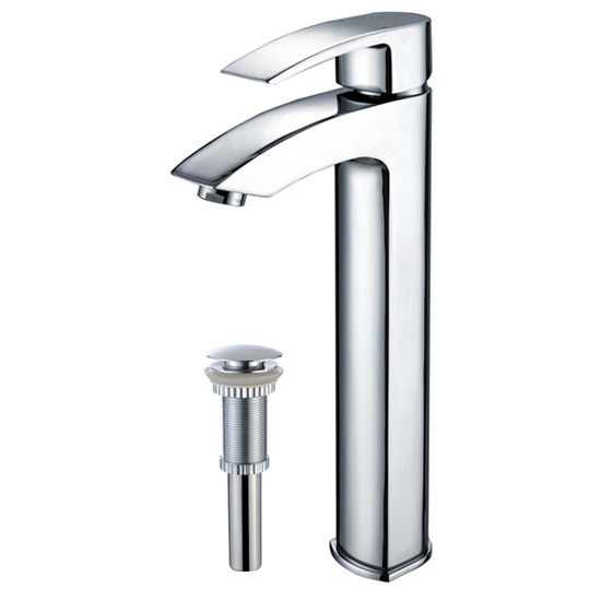 Kraus Visio Bathroom Vessel Sink Faucet with Matching Pop Up Drain, Chrome