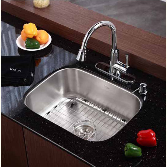 16 Gauge Undermount Kitchen Sink : Kraus Undermount 16 gauge Single Bowl Kitchen Sink - Stainless Steel ...