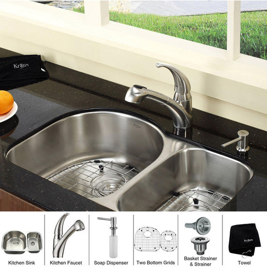 Kraus  Stainless Steel 30 inch Undermount 16 gauge Double Bowl Kitchen Sink with Straight Neck Kitchen Faucet and Soap Dispenser, Stainless Steel