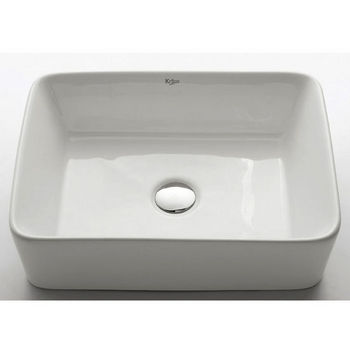 "Kraus White Rectangular Ceramic Sink with Pop Up Drain, 19-1/5""W x 15-1/5""D x 5-2/7""H"
