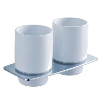 Kraus Fortis Bathroom Wall Mounted Double Ceramic Tumbler Holder