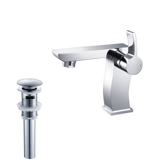 "Kraus Sonus Single Lever Basin Chrome Faucet, 5-2/5""H"