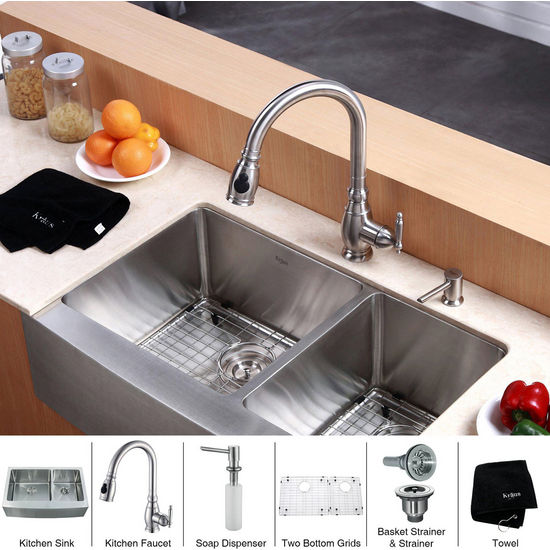 Kraus Stainless Steel 33 inch Farmhouse Double Bowl Kitchen Sink with Kitchen Faucet and Soap Dispenser , Stainless Steel