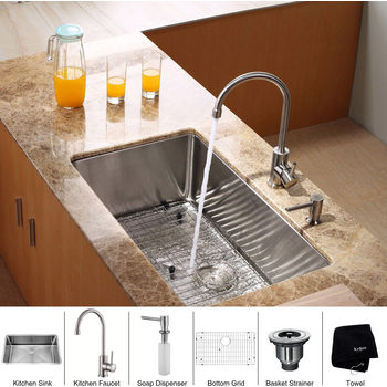 Kraus Stainless Steel 30 inch Undermount Single Bowl Kitchen Sink with Gooseneck Kitchen Faucet and Soap Dispenser, Stainless Steel