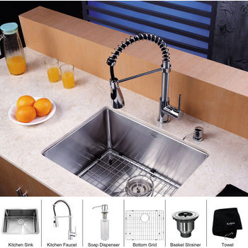 Kraus Stainless Steel 30 inch Undermount Single Bowl Kitchen Sink and Chrome Dual Pull-out Spray Head Faucet and Dispenser, Chrome