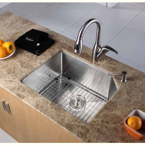 Kraus 23 inch Undermount Single Bowl 16 gauge Stainless Steel Kitchen Sink
