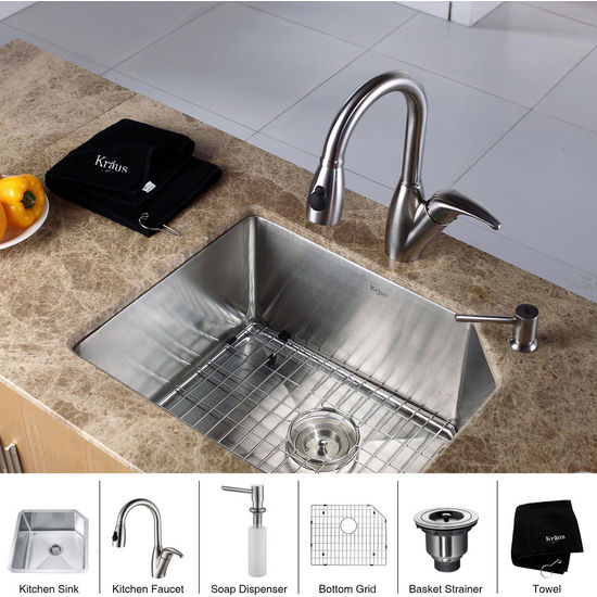 Kraus Stainless Steel 23 inch Undermount Single Bowl Kitchen Sink with a Gooseneck Kitchen Faucet 8 inch Reach, Curved Handle and Soap Dispenser, Stainless Steel
