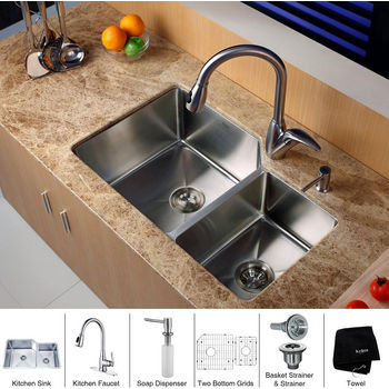 Kraus Stainless Steel 32 inch Undermount 70/30 Double Bowl Kitchen Sink with a Gooseneck Kitchen Faucet 10 inch Reach, Curved Handle and Soap Dispenser, Stainless Steel