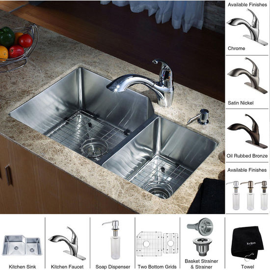 Kraus Stainless Steel 32 inch Undermount 70/30 Double Bowl Kitchen Sink and Straight Neck Kitchen Faucet with Soap Dispenser, Chrome
