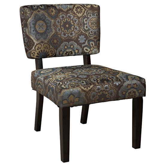 Linon Juniper Chair with Rangoon Fabric & Dark Brown Frame