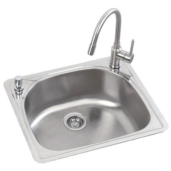 Mitrani Titan Steel Mara Single Bowl Topmount/ Undermount Stainless Steel Kitchen Sink