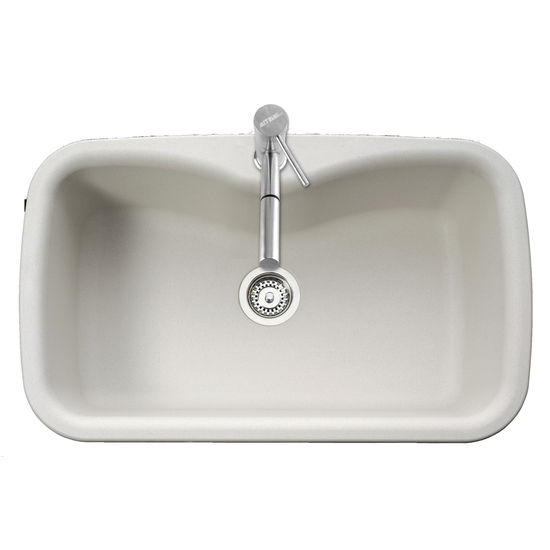 Mitrani Granite Enzo Super Single Bowl Topmount\/Undermount Kitchen Sink In  Metallic White