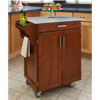 Mix & Match 2 Door w/ Drawer Cuisine Cart Cabinet, Warm Oak Finish with Marble Top by Home Styles