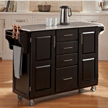 Mix & Match Create-a-Cart Black Finish with Marble Top by Home Styles