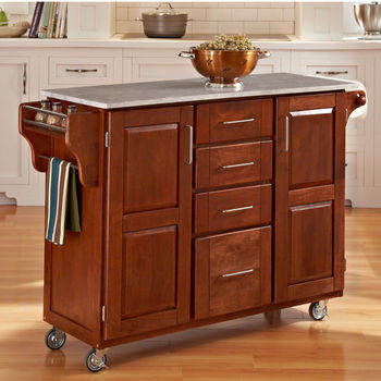 Mix & Match Create-a-Cart Warm Oak Finish with Marble Top by Home Styles