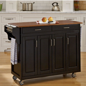 Mix & Match Create-a-Cart Black Finish with Oak Top by Home Styles