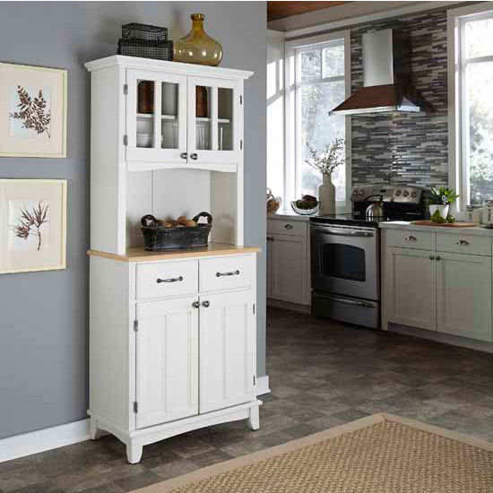 White Finish Two-Door Hutch Buffet with Natural Wood Top