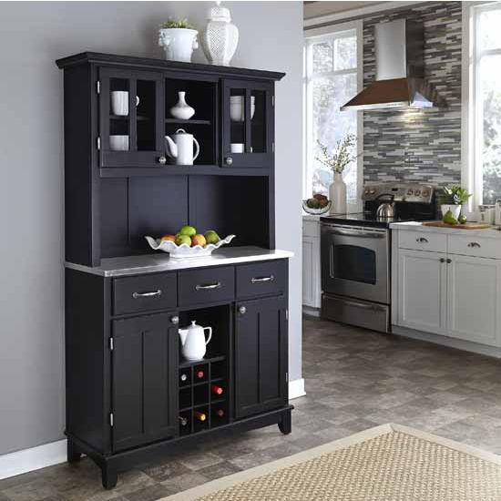 Black Finish Large Two-Door Hutch Buffet Server with Stainless Steel Top