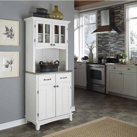 White Finish Two-Door Hutch Buffet Server with Stainless Steel Top