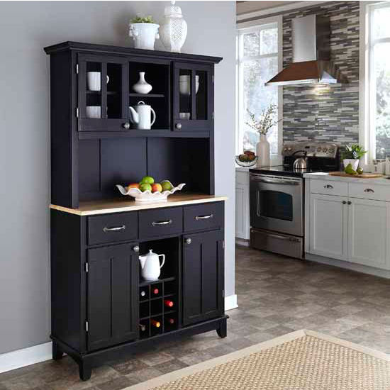 Black Finish Wood Two-Door Hutch Buffet Server with Natural Wood To
