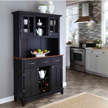 Black Finish Wood Two-Door Hutch Buffet Server with Cherry To