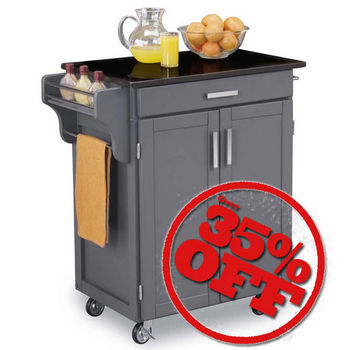 Small Gray Create-A-Cart with Black Granite Top by Mix & Match