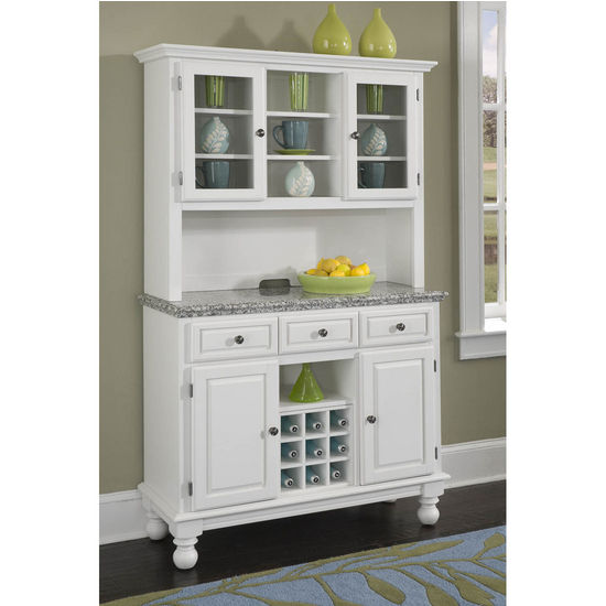 Mix & Match Premium Large Buffet & Two-Door Hutch w/ White Finish and Gray Granite Top by Home Styles