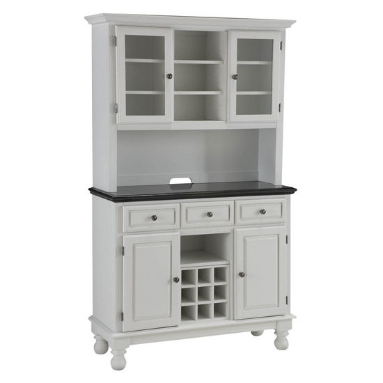 Mix & Match Premium Large Buffet & Two-Door Hutch w/ White Finish and Black Granite Top by Home Styles