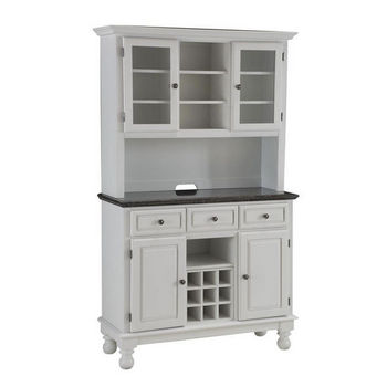 Mix & Match Premium Large Buffet & Two-Door Hutch w/ White Finish and Gray/Salmon Granite Top by Home Styles