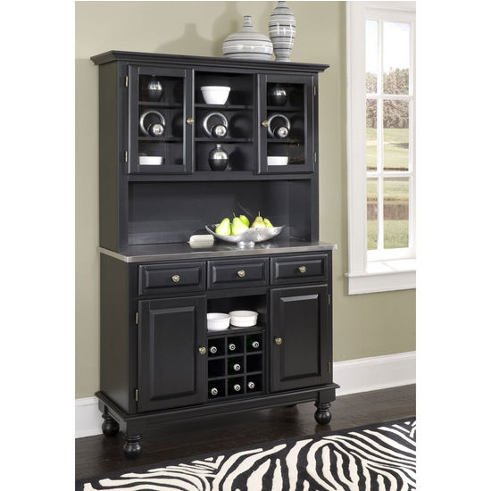 Mix & Match Premium Large Buffet & Two-Door Hutch w/ Black Finish and Stainless Steel Top by Home Styles