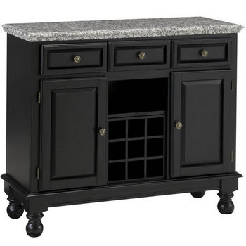 Mix & Match Premium Large Buffet w/ Black Finish and Gray Granite Top by Home Styles
