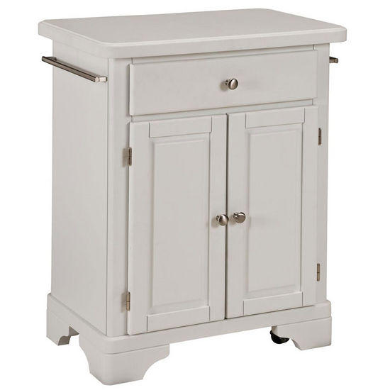 Mix & Match Premium Cuisine Kitchen Cart w/ White Finish and Wood Top by Home Styles