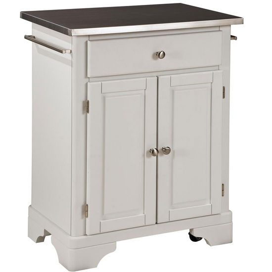 Mix & Match Premium Cuisine Kitchen Cart w/ White Finish and Stainless Steel Top by Home Styles