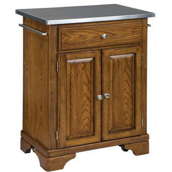 Mix & Match Premium Cuisine Kitchen Cart w/ Dark Cottage Oak Finish and Stainless Steel Top by Home Styles