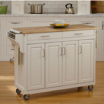 Mix and Match Create-a-Cart w/ White Finish and Wood Top by Home Styles
