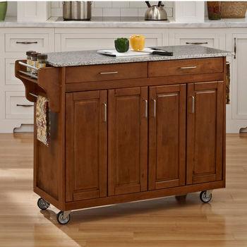 Mix and Match Create-a-Cart w/ Dark Cottage Oak Finish and Salt & Pepper Granite Top by Home Styles