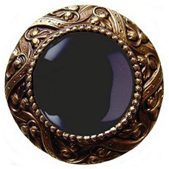 Knob, Victorian Jewel, Black Onyx, Antique Brass