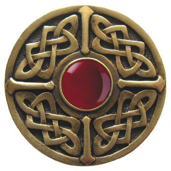 Knob, Celtic Jewel, Red Carnelian, Antique Brass